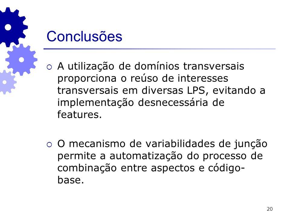 20 Conclusões A utilização de domínios transversais proporciona o reúso de interesses transversais em diversas LPS, evitando a implementação desnecess