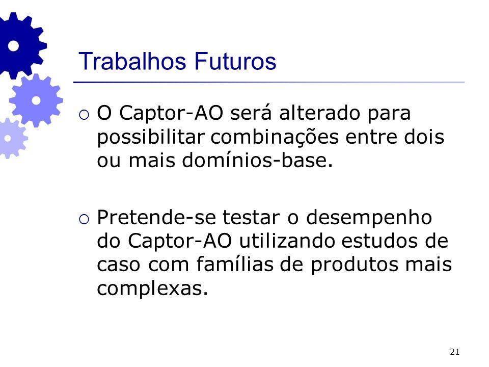 21 Trabalhos Futuros O Captor-AO será alterado para possibilitar combinações entre dois ou mais domínios-base. Pretende-se testar o desempenho do Capt