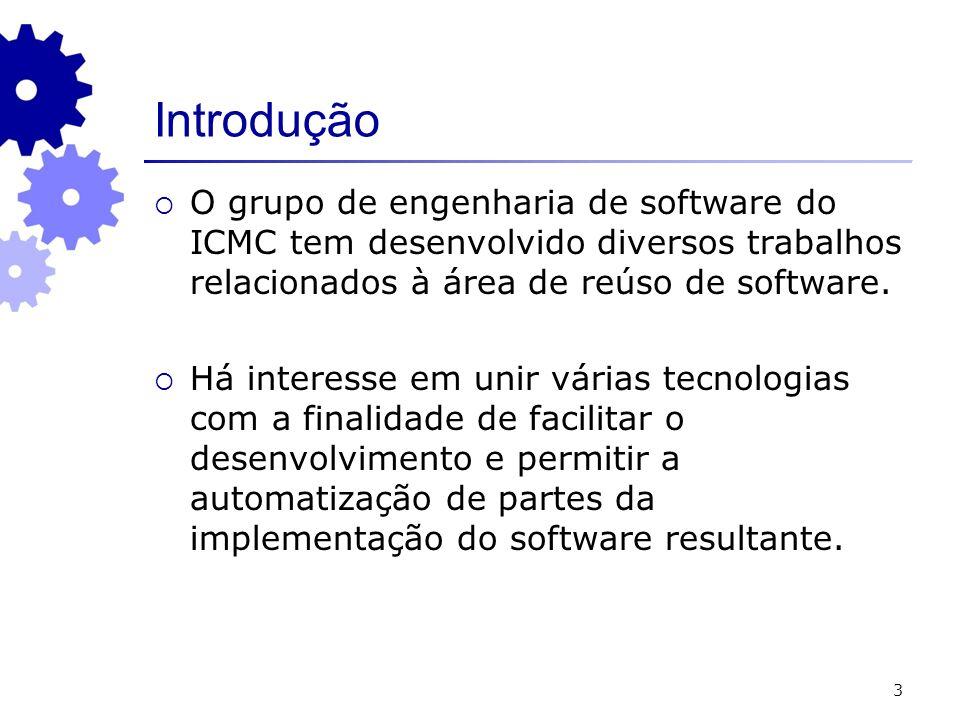 3 Introdução O grupo de engenharia de software do ICMC tem desenvolvido diversos trabalhos relacionados à área de reúso de software. Há interesse em u