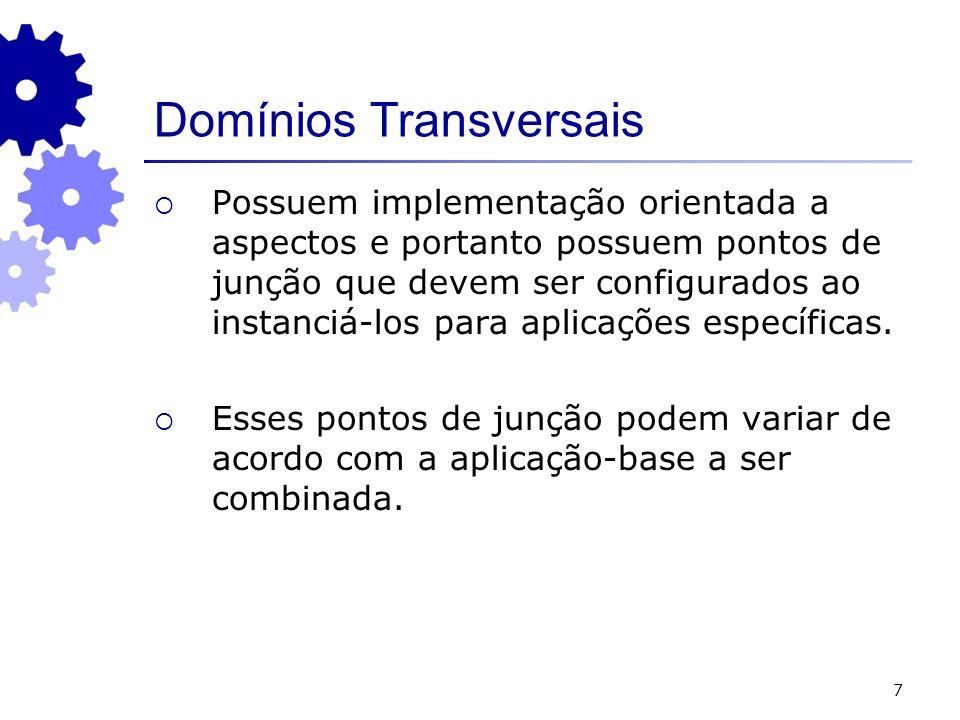 7 Domínios Transversais Possuem implementação orientada a aspectos e portanto possuem pontos de junção que devem ser configurados ao instanciá-los par