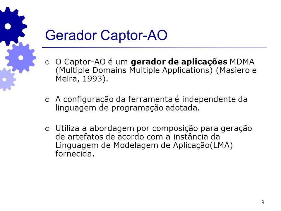 9 Gerador Captor-AO O Captor-AO é um gerador de aplicações MDMA (Multiple Domains Multiple Applications) (Masiero e Meira, 1993). A configuração da fe