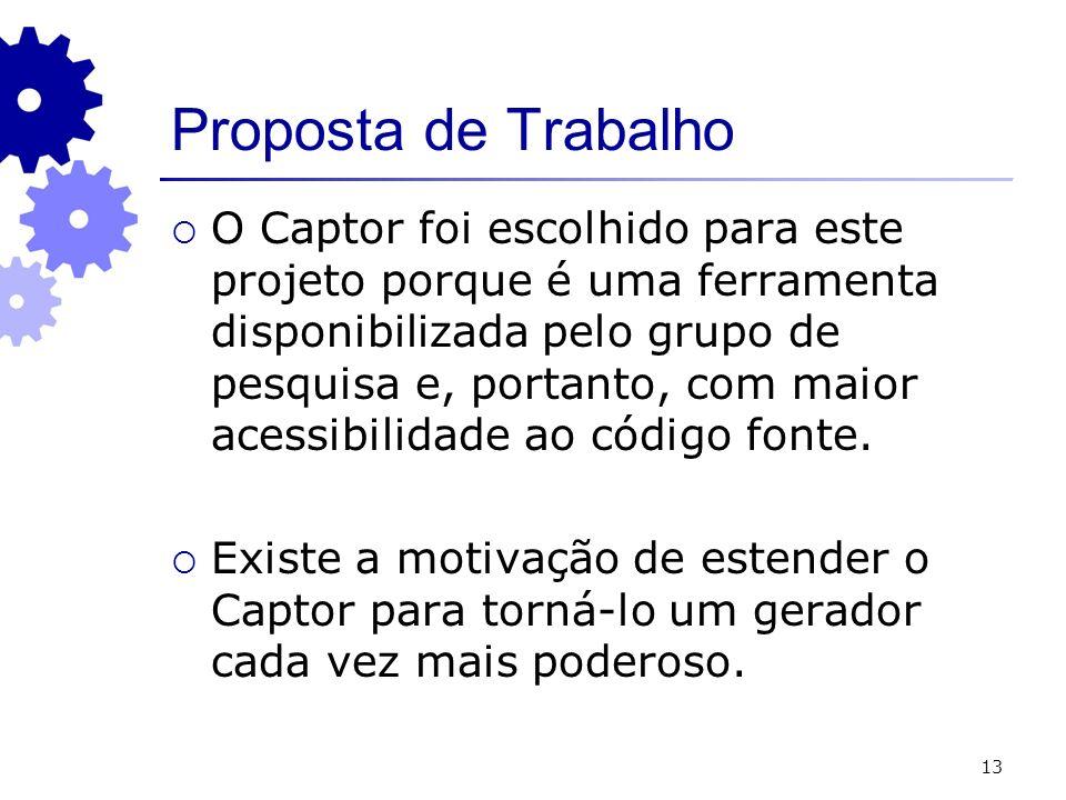 13 Proposta de Trabalho O Captor foi escolhido para este projeto porque é uma ferramenta disponibilizada pelo grupo de pesquisa e, portanto, com maior