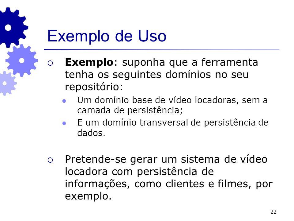 22 Exemplo de Uso Exemplo: suponha que a ferramenta tenha os seguintes domínios no seu repositório: Um domínio base de vídeo locadoras, sem a camada d