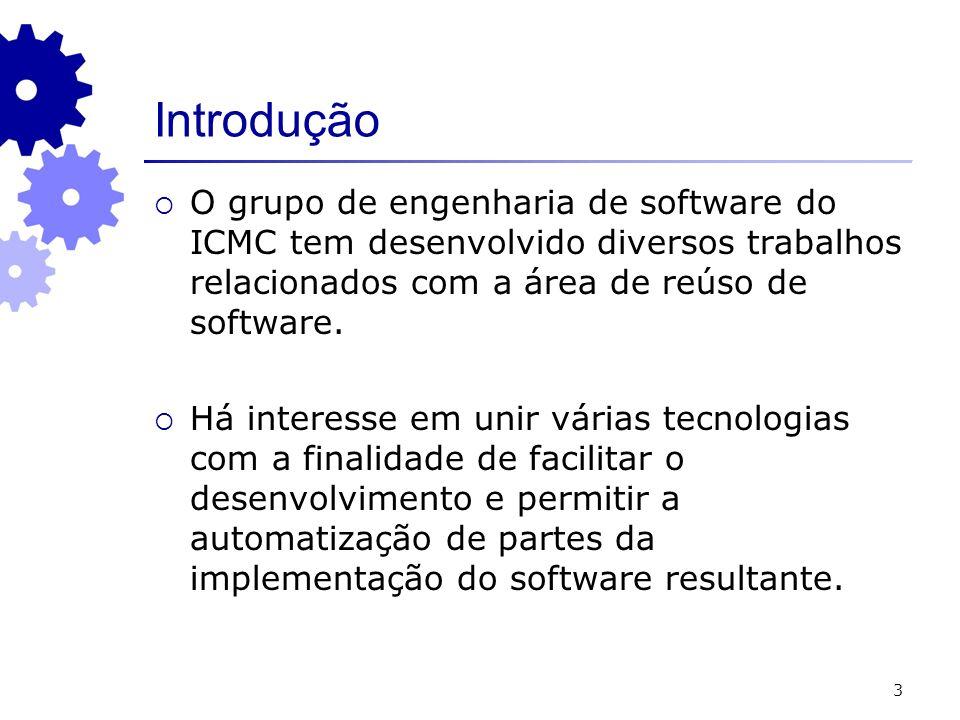 3 Introdução O grupo de engenharia de software do ICMC tem desenvolvido diversos trabalhos relacionados com a área de reúso de software. Há interesse