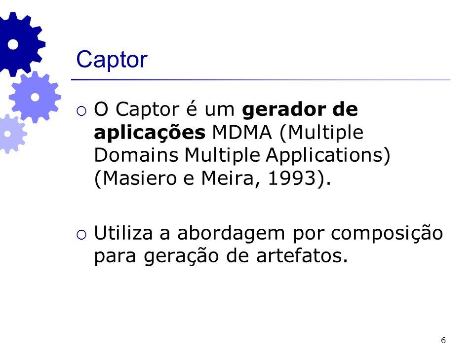 6 Captor O Captor é um gerador de aplicações MDMA (Multiple Domains Multiple Applications) (Masiero e Meira, 1993). Utiliza a abordagem por composição