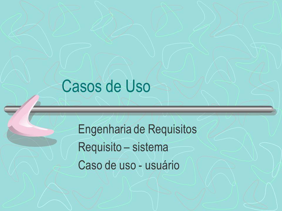 Casos de Uso Engenharia de Requisitos Requisito – sistema Caso de uso - usuário