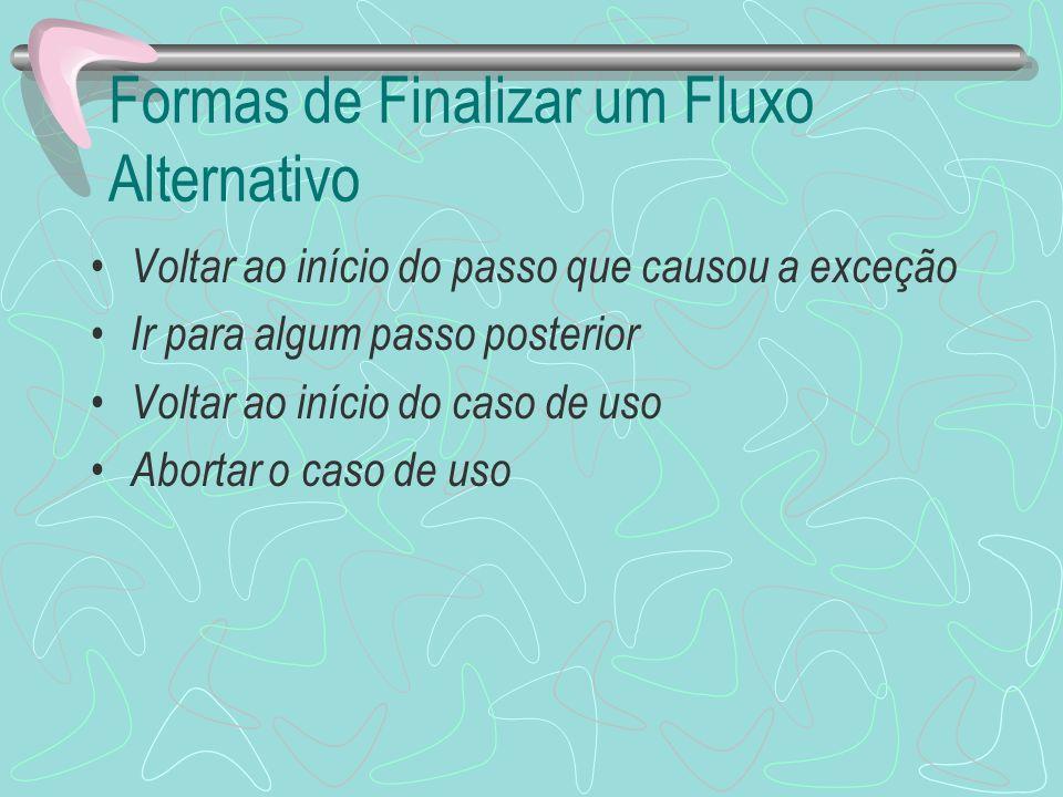 Formas de Finalizar um Fluxo Alternativo Voltar ao início do passo que causou a exceção Ir para algum passo posterior Voltar ao início do caso de uso