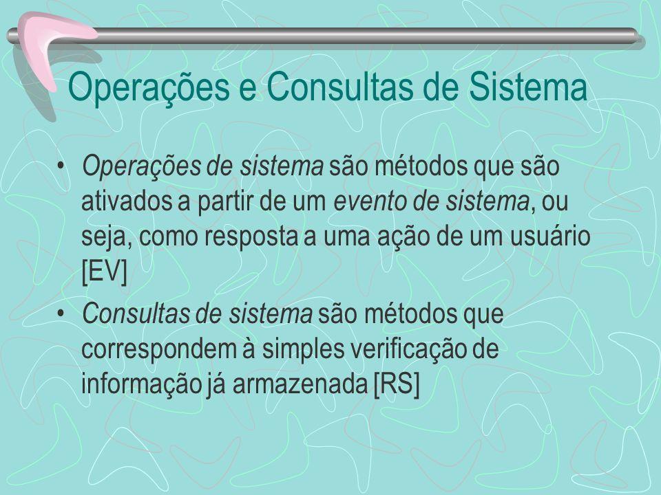Operações e Consultas de Sistema Operações de sistema são métodos que são ativados a partir de um evento de sistema, ou seja, como resposta a uma ação