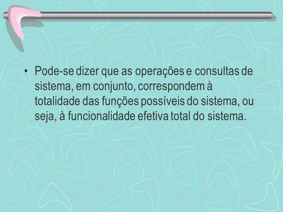 Pode-se dizer que as operações e consultas de sistema, em conjunto, correspondem à totalidade das funções possíveis do sistema, ou seja, à funcionalid