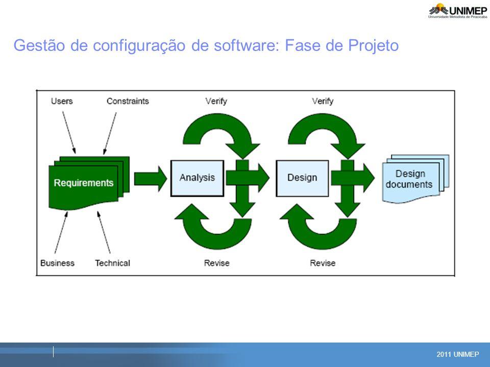 2011 UNIMEP Gestão de configuração de software: Fase de Projeto