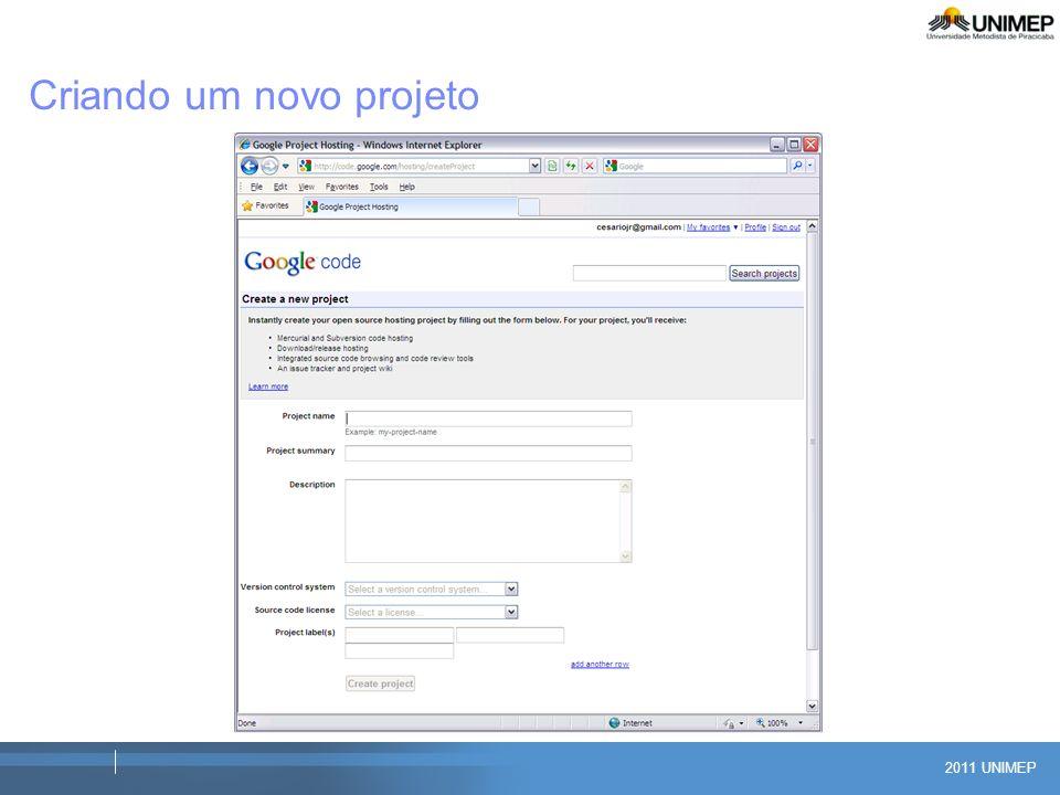2011 UNIMEP Criando um novo projeto