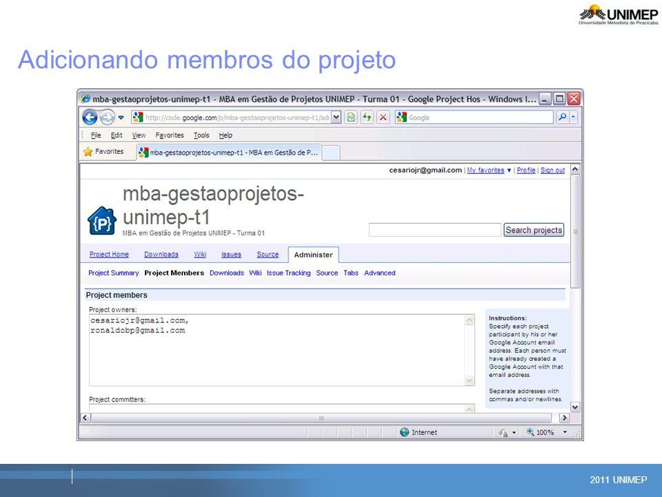2011 UNIMEP Adicionando membros do projeto