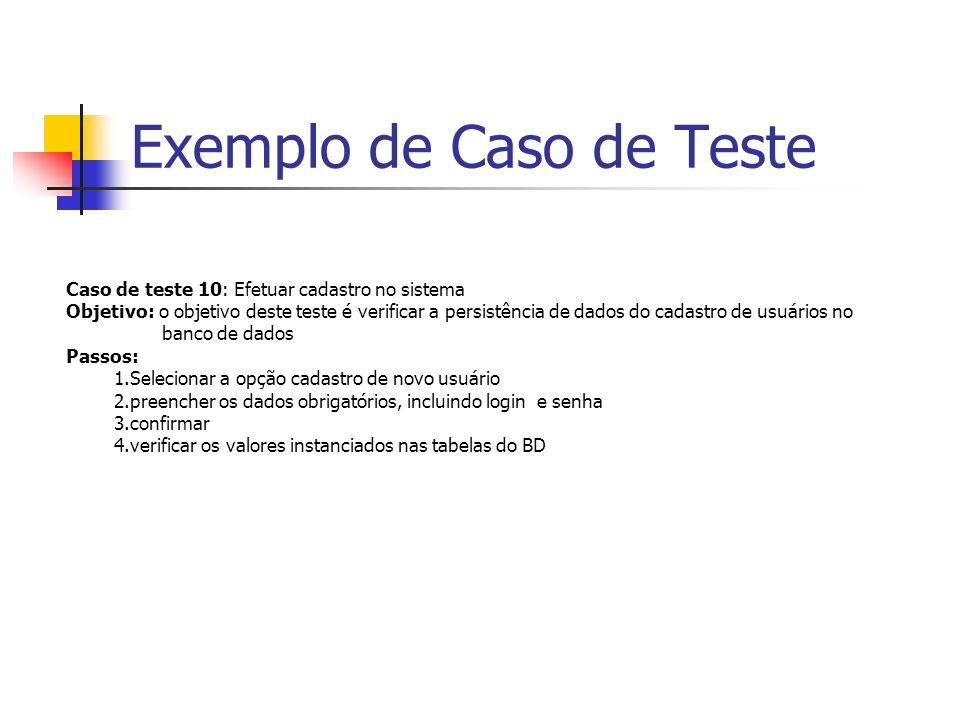 Exemplo de Caso de Teste Caso de teste 10: Efetuar cadastro no sistema Objetivo: o objetivo deste teste é verificar a persistência de dados do cadastr