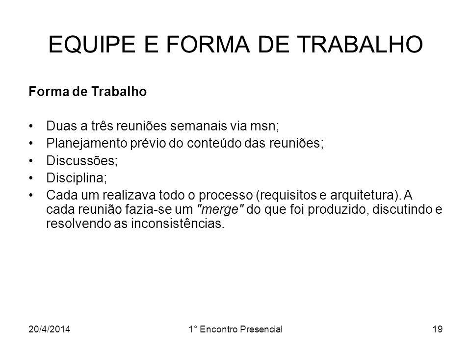20/4/20141° Encontro Presencial19 EQUIPE E FORMA DE TRABALHO Forma de Trabalho Duas a três reuniões semanais via msn; Planejamento prévio do conteúdo