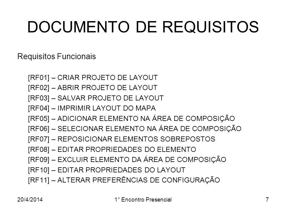 20/4/20141° Encontro Presencial7 DOCUMENTO DE REQUISITOS Requisitos Funcionais [RF01] – CRIAR PROJETO DE LAYOUT [RF02] – ABRIR PROJETO DE LAYOUT [RF03