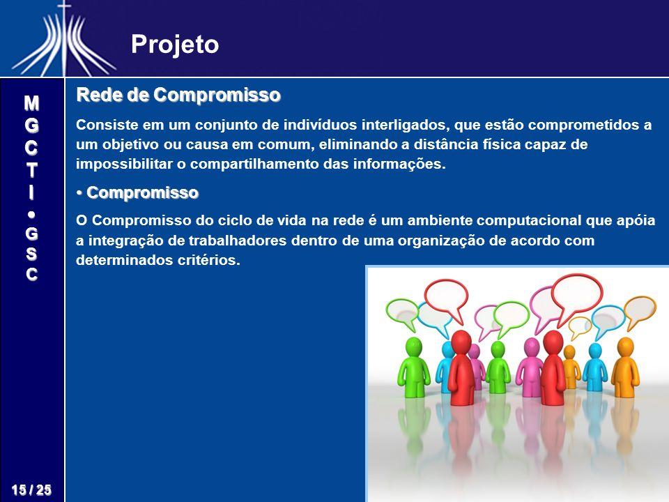 M G C T I G S C 15 / 25 Projeto Rede de Compromisso Consiste em um conjunto de indivíduos interligados, que estão comprometidos a um objetivo ou causa em comum, eliminando a distância física capaz de impossibilitar o compartilhamento das informações.