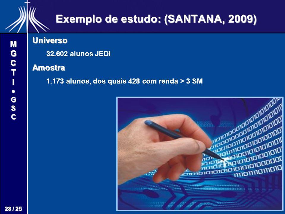 M G C T I G S C 28 / 25 Exemplo de estudo: (SANTANA, 2009) Universo 32.602 alunos JEDIAmostra 1.173 alunos, dos quais 428 com renda > 3 SM