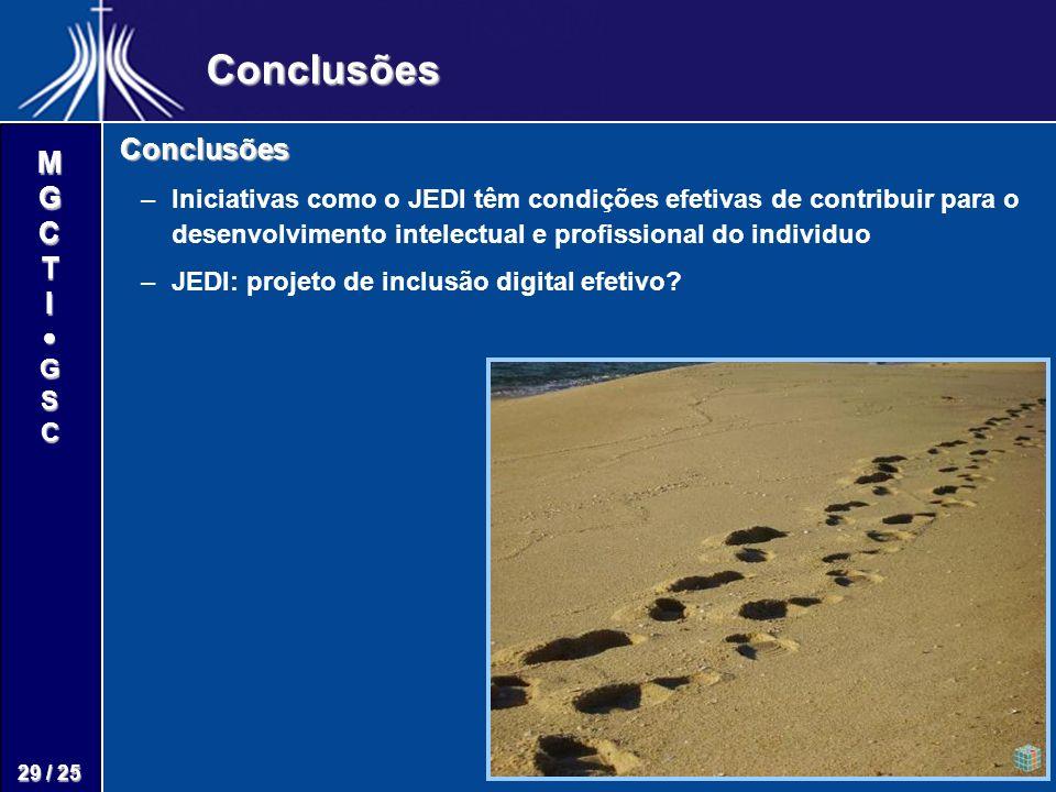 M G C T I G S C 29 / 25 Conclusões Conclusões – –Iniciativas como o JEDI têm condições efetivas de contribuir para o desenvolvimento intelectual e profissional do individuo – –JEDI: projeto de inclusão digital efetivo