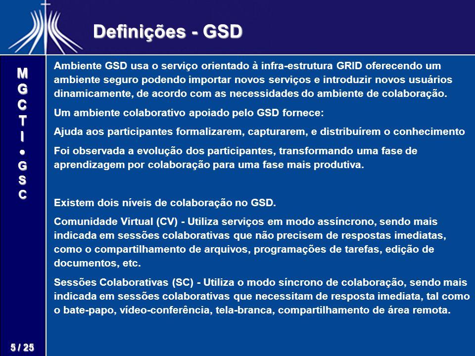 M G C T I G S C 5 / 25 Definições - GSD Ambiente GSD usa o serviço orientado à infra-estrutura GRID oferecendo um ambiente seguro podendo importar novos serviços e introduzir novos usuários dinamicamente, de acordo com as necessidades do ambiente de colaboração.