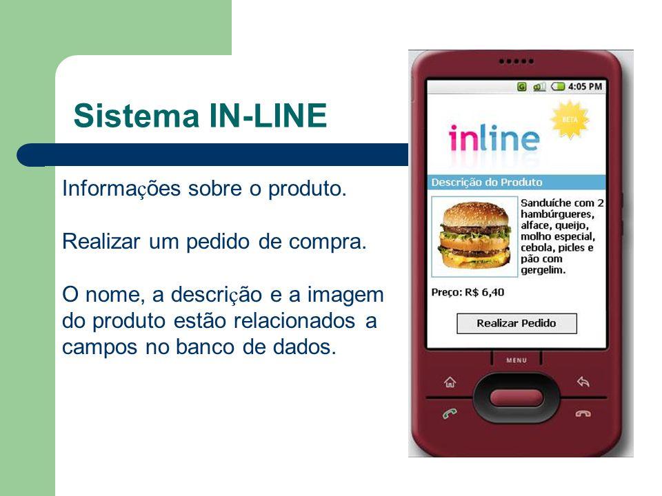 Sistema IN-LINE Informa ç ões sobre o produto. Realizar um pedido de compra. O nome, a descri ç ão e a imagem do produto estão relacionados a campos n