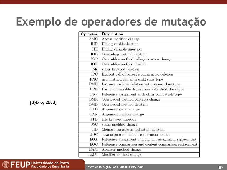 4 Testes de mutação, João Pascoal Faria, 2007 Exemplo de operadores de mutação [Bybro, 2003]