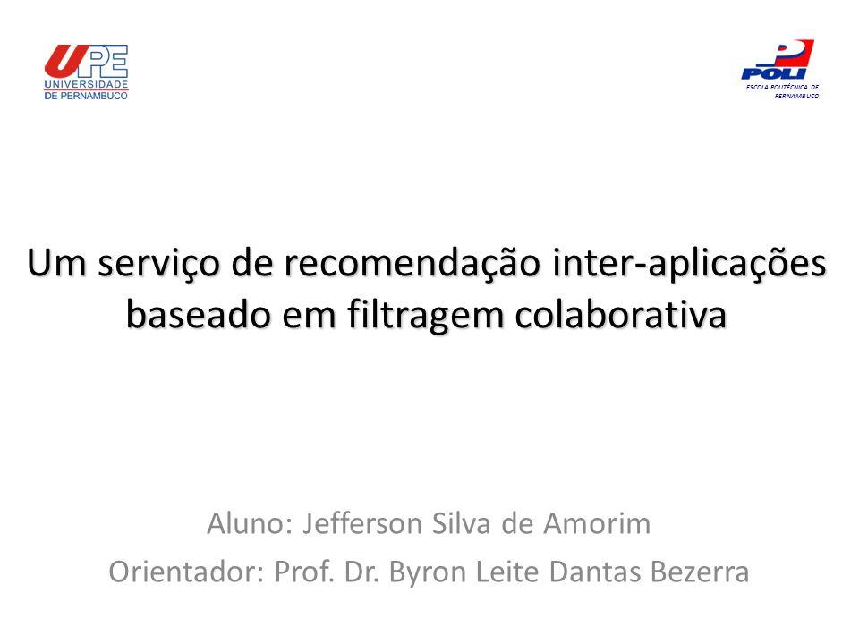 Um serviço de recomendação inter-aplicações baseado em filtragem colaborativa Aluno: Jefferson Silva de Amorim Orientador: Prof. Dr. Byron Leite Danta