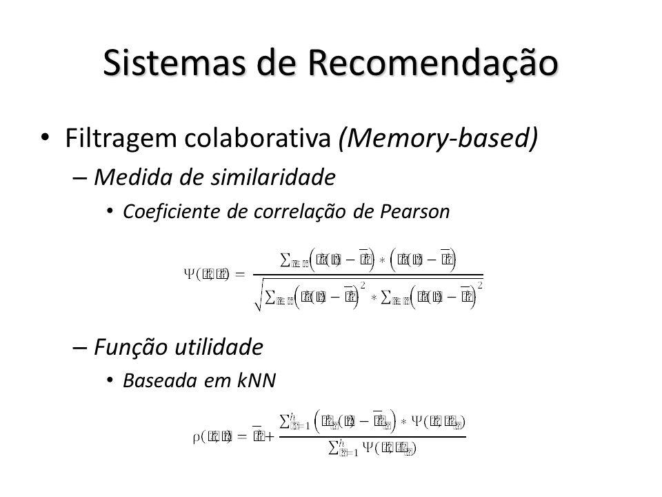 Sistemas de Recomendação Filtragem colaborativa (Memory-based) – Medida de similaridade Coeficiente de correlação de Pearson – Função utilidade Basead