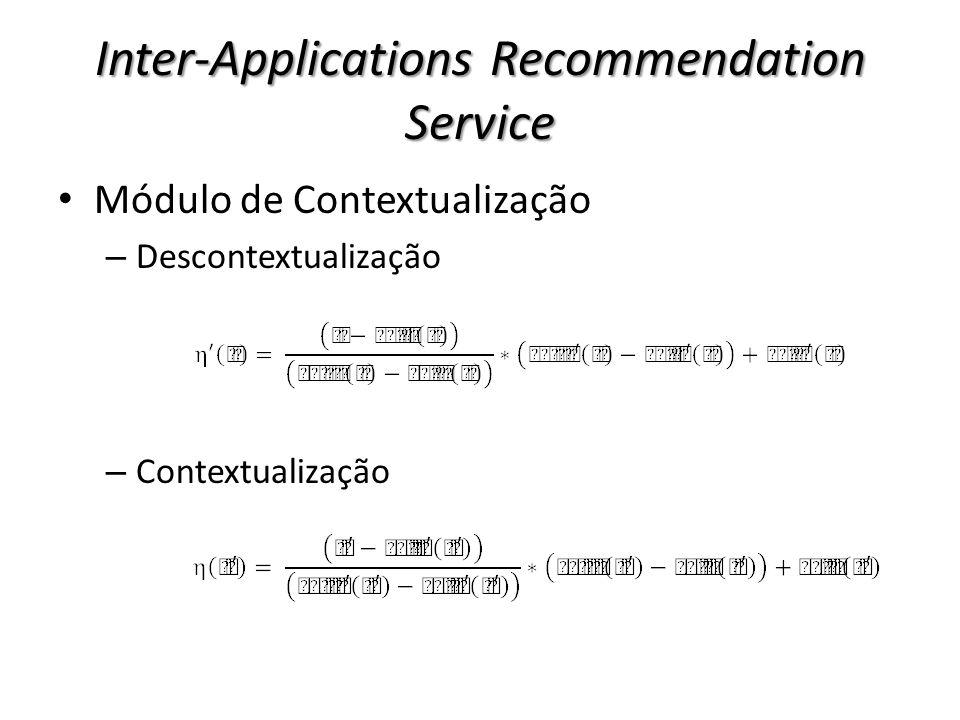 Inter-Applications Recommendation Service Módulo de Contextualização – Descontextualização – Contextualização