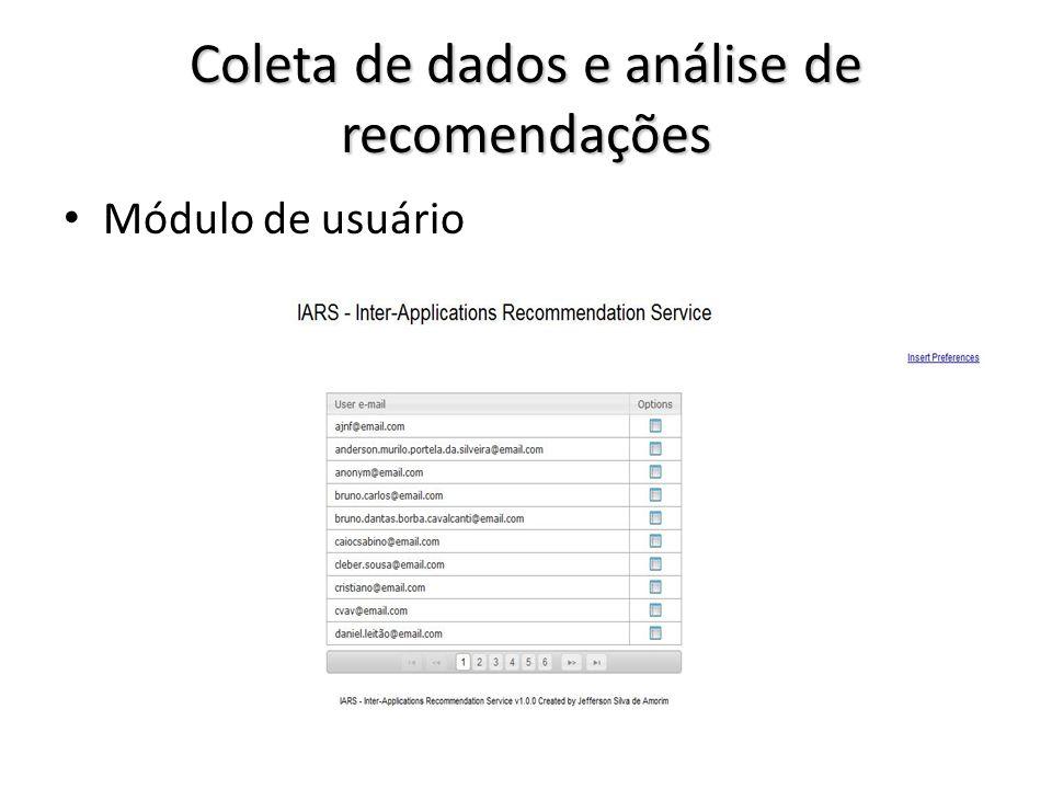 Coleta de dados e análise de recomendações Módulo de usuário