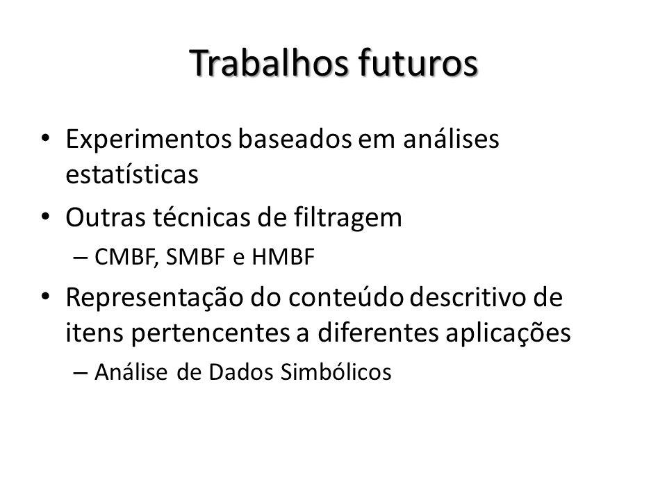 Trabalhos futuros Experimentos baseados em análises estatísticas Outras técnicas de filtragem – CMBF, SMBF e HMBF Representação do conteúdo descritivo