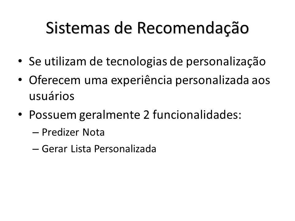 Sistemas de Recomendação Se utilizam de tecnologias de personalização Oferecem uma experiência personalizada aos usuários Possuem geralmente 2 funcion