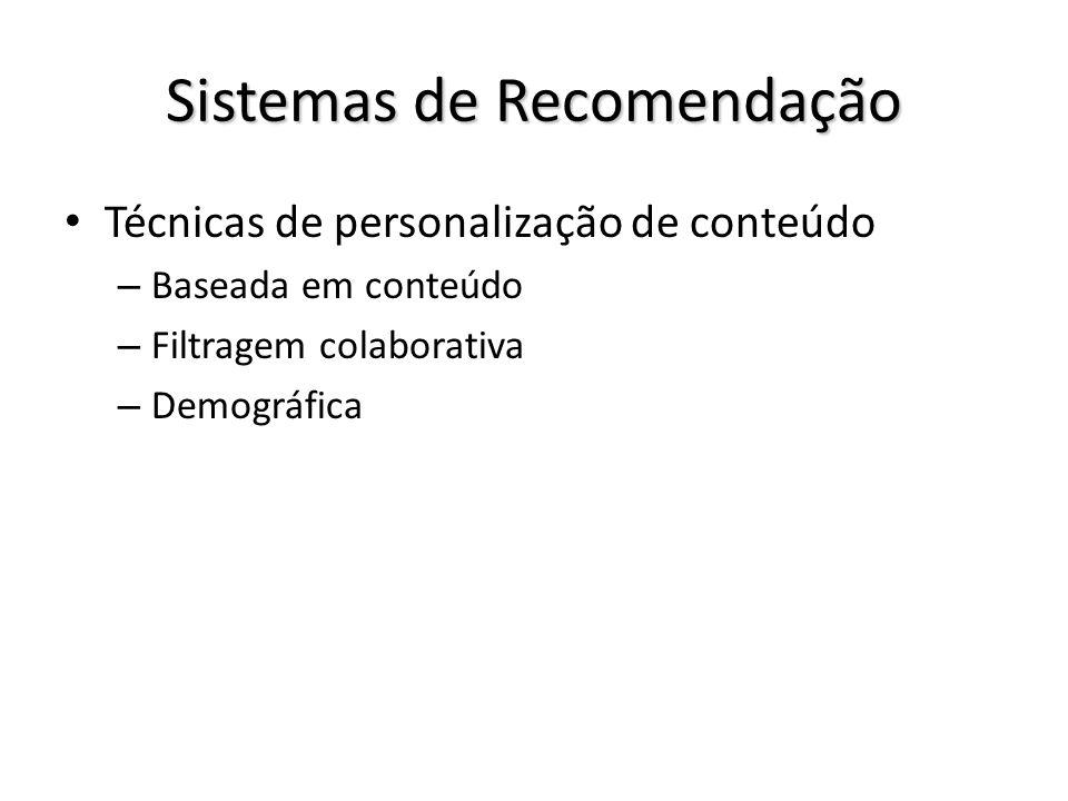 Sistemas de Recomendação Técnicas de personalização de conteúdo – Baseada em conteúdo – Filtragem colaborativa – Demográfica