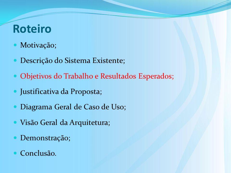 Roteiro Motivação; Descrição do Sistema Existente; Objetivos do Trabalho e Resultados Esperados; Justificativa da Proposta; Diagrama Geral de Caso de Uso; Visão Geral da Arquitetura; Demonstração; Conclusão.