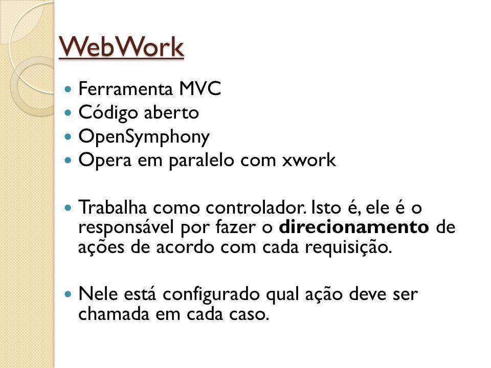 WebWork Ferramenta MVC Código aberto OpenSymphony Opera em paralelo com xwork Trabalha como controlador. Isto é, ele é o responsável por fazer o direc