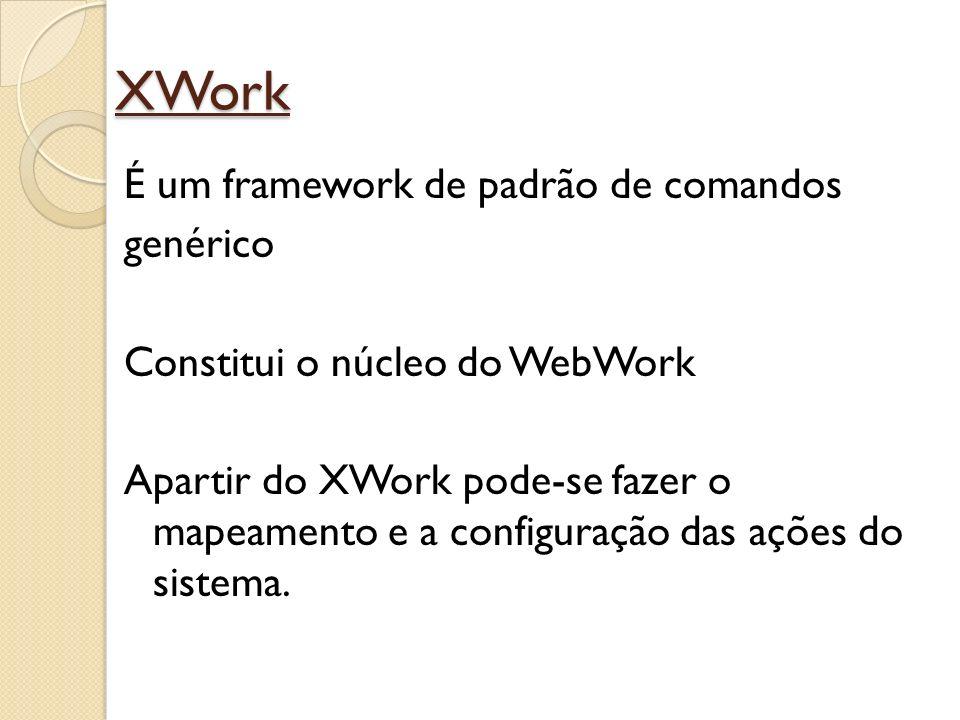 XWork É um framework de padrão de comandos genérico Constitui o núcleo do WebWork Apartir do XWork pode-se fazer o mapeamento e a configuração das açõ