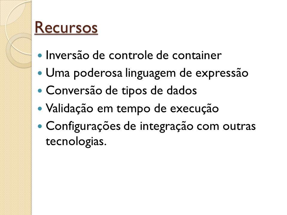 Recursos Inversão de controle de container Uma poderosa linguagem de expressão Conversão de tipos de dados Validação em tempo de execução Configuraçõe