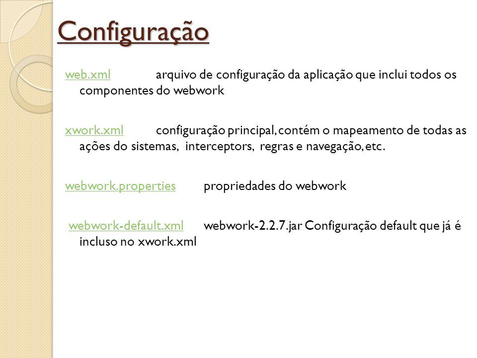 Configuração web.xmlweb.xml arquivo de configuração da aplicação que inclui todos os componentes do webwork xwork.xmlxwork.xml configuração principal,