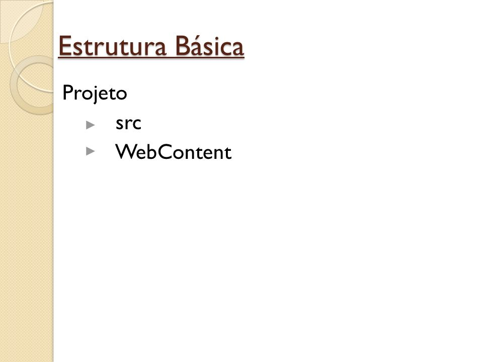 Estrutura Básica Projeto src classes libraries WebContent