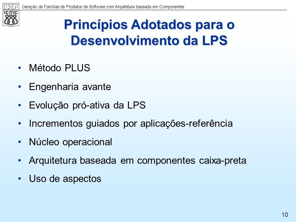 Geração de Famílias de Produtos de Software com Arquitetura baseada em Componentes 10 Princípios Adotados para o Desenvolvimento da LPS Método PLUS En