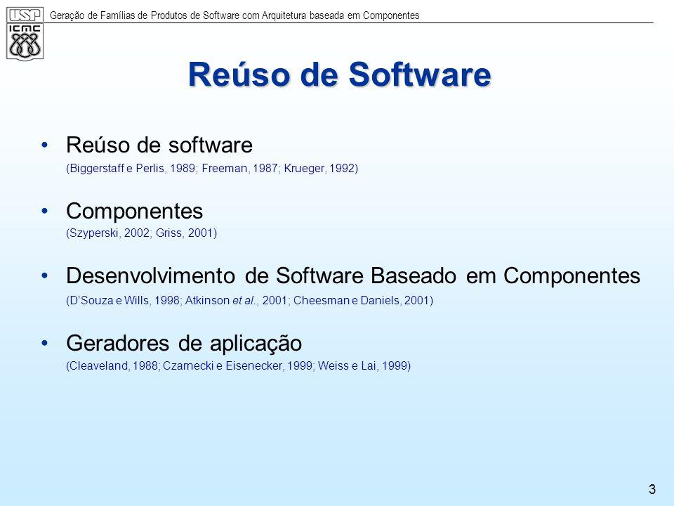 Geração de Famílias de Produtos de Software com Arquitetura baseada em Componentes 3 Reúso de Software Reúso de software (Biggerstaff e Perlis, 1989;