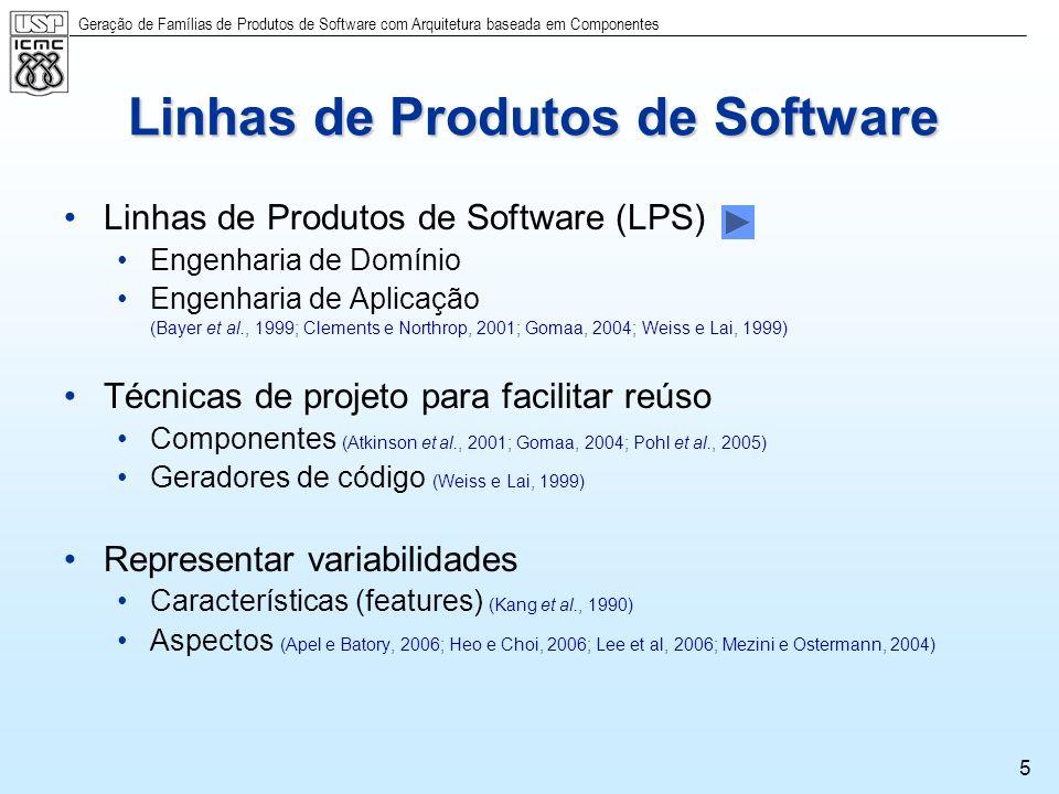 Geração de Famílias de Produtos de Software com Arquitetura baseada em Componentes 5 Linhas de Produtos de Software Linhas de Produtos de Software (LP