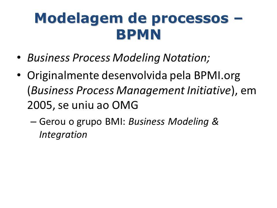 Modelagem de processos – BPMN Business Process Modeling Notation; Originalmente desenvolvida pela BPMI.org (Business Process Management Initiative), e