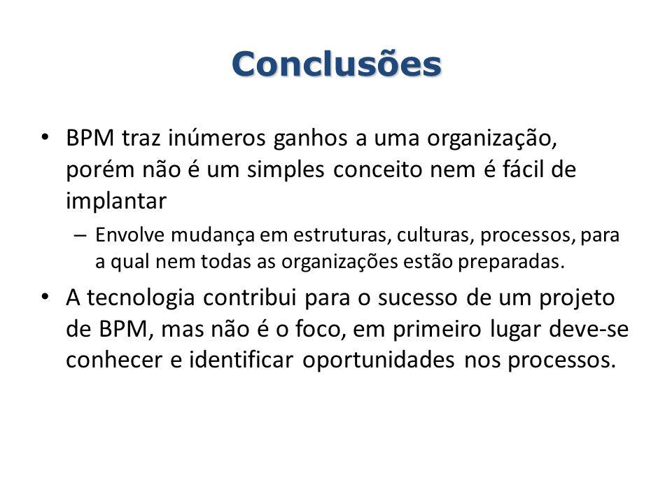 Conclusões BPM traz inúmeros ganhos a uma organização, porém não é um simples conceito nem é fácil de implantar – Envolve mudança em estruturas, cultu
