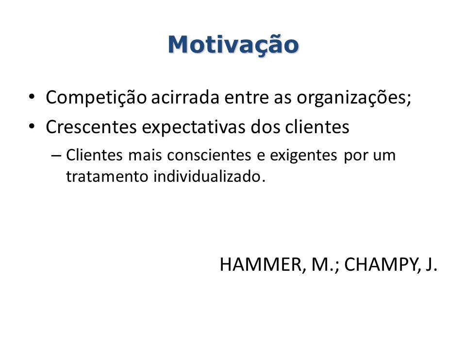 Motivação Competição acirrada entre as organizações; Crescentes expectativas dos clientes – Clientes mais conscientes e exigentes por um tratamento in