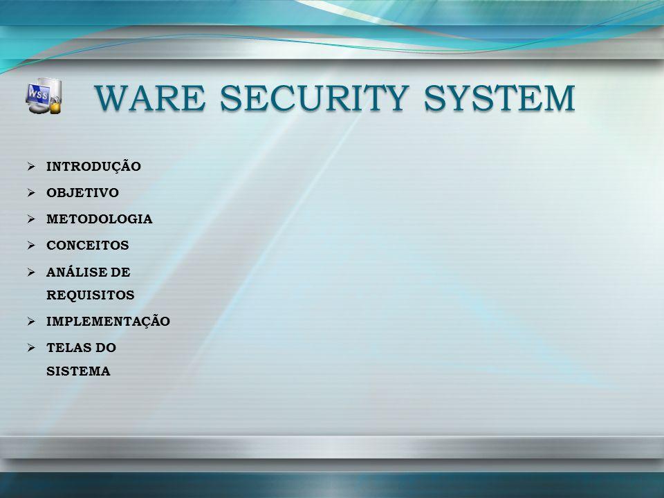 WARE SECURITY SYSTEM INTRODUÇÃO OBJETIVO METODOLOGIA CONCEITOS ANÁLISE DE REQUISITOS IMPLEMENTAÇÃO TELAS DO SISTEMA