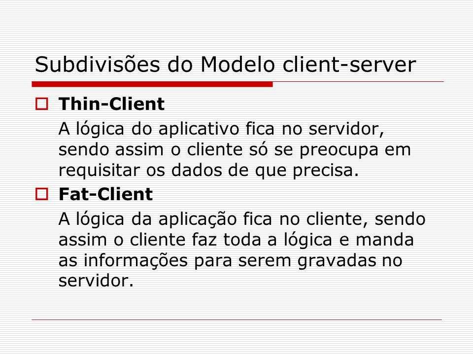 Subdivisões do Modelo client-server Thin-Client A lógica do aplicativo fica no servidor, sendo assim o cliente só se preocupa em requisitar os dados d