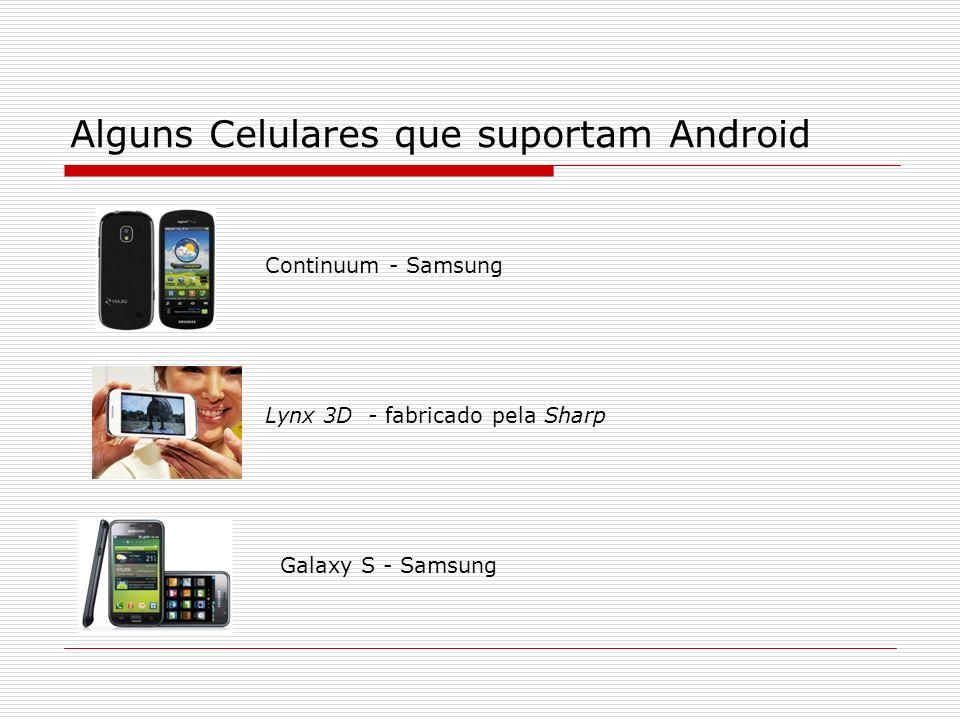 Alguns Celulares que suportam Android Continuum - Samsung Lynx 3D - fabricado pela Sharp Galaxy S - Samsung