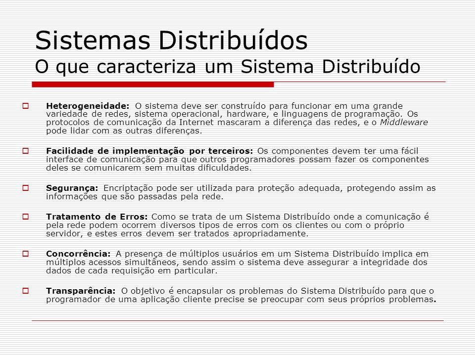 Sistemas Distribuídos O que caracteriza um Sistema Distribuído Heterogeneidade: O sistema deve ser construído para funcionar em uma grande variedade d