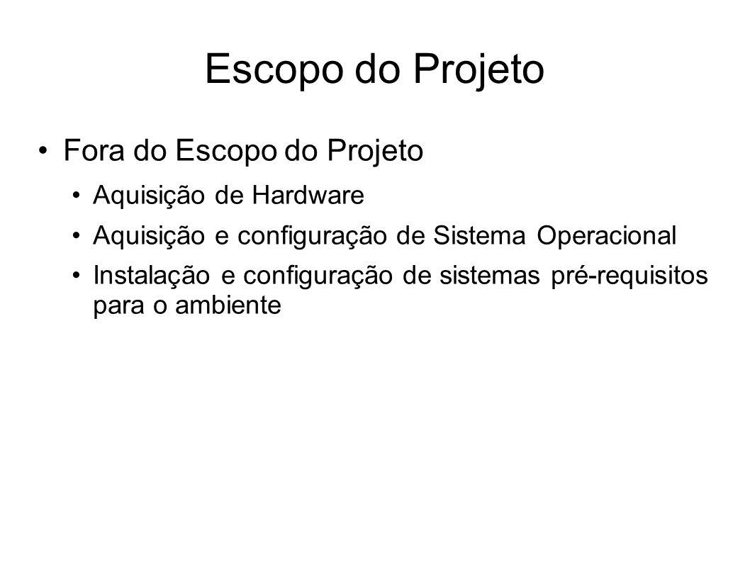 Escopo do Projeto Fora do Escopo do Projeto Aquisição de Hardware Aquisição e configuração de Sistema Operacional Instalação e configuração de sistema