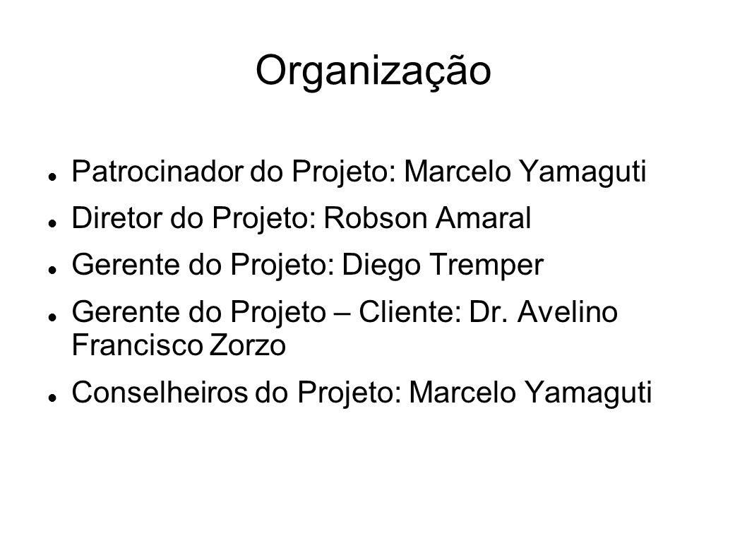 Organização Patrocinador do Projeto: Marcelo Yamaguti Diretor do Projeto: Robson Amaral Gerente do Projeto: Diego Tremper Gerente do Projeto – Cliente